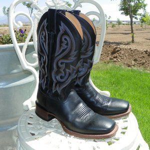 Cody James Black Leather Square Toe Boots Men 8.5